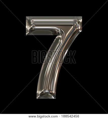 Number 7 Rounded Shiny Silver Isolated On Black