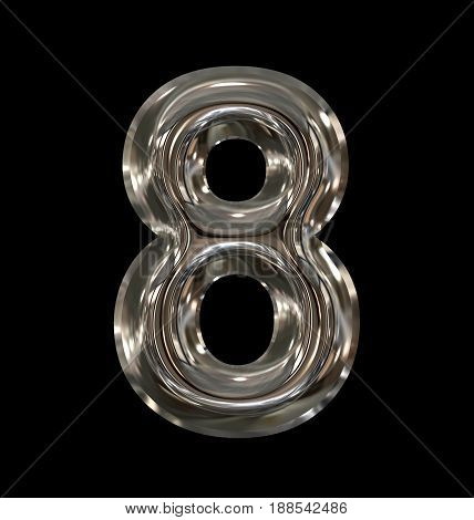 Number 8 Rounded Shiny Silver Isolated On Black