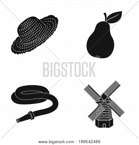 Straw hat, pear with leaf, watering hose, windmill. Farmer and gardening set collection icons in black style vector symbol stock illustration .