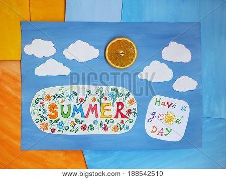Word Summer on child applique, summer concept