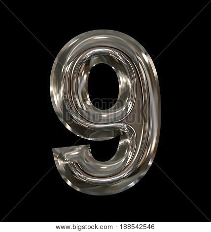 Number 9 Rounded Shiny Silver Isolated On Black
