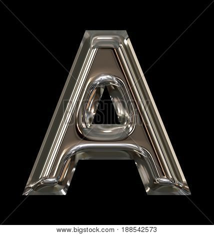 Letter A Rounded Shiny Silver Isolated On Black
