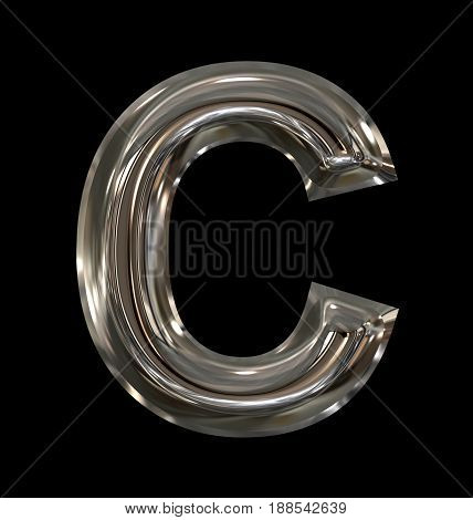 Letter C Rounded Shiny Silver Isolated On Black
