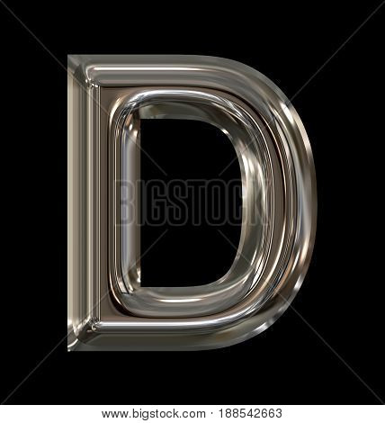 Letter D Rounded Shiny Silver Isolated On Black