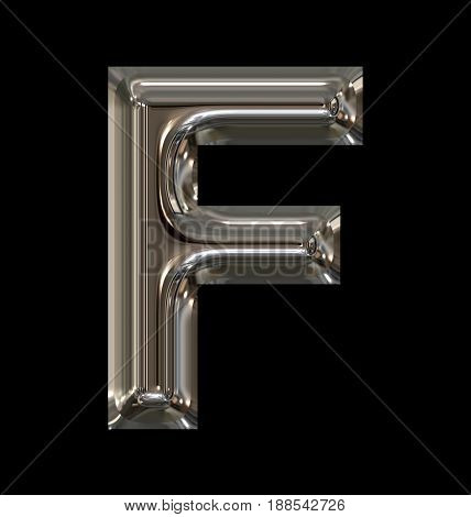 Letter F Rounded Shiny Silver Isolated On Black