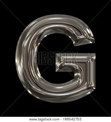 Letter G Rounded Shiny Silver Isolated On Black