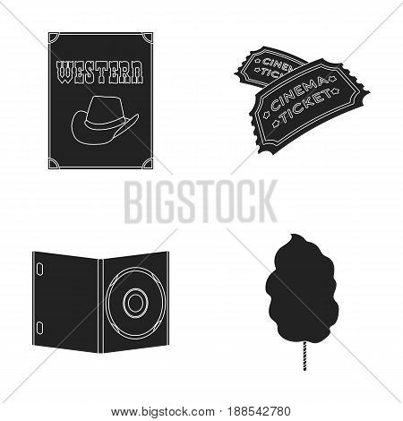 Western cinema, tickets, sweet cotton wool, film on DVD.Filmy and cinema set collection icons in black style vector symbol stock illustration .
