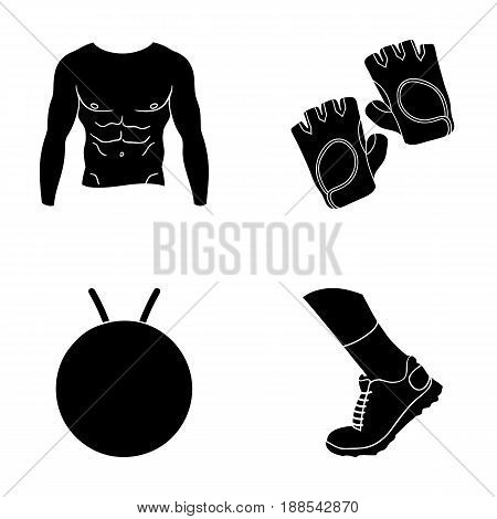 Men's torso, gymnastic gloves, jumping ball, sneakers. Fitnes set collection icons in black style vector symbol stock illustration .