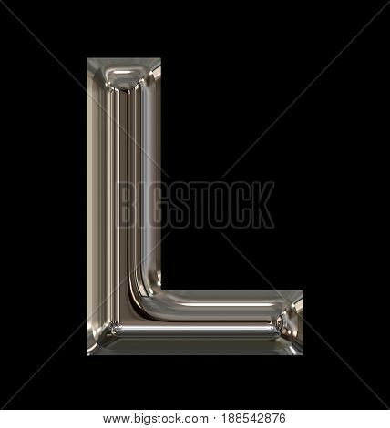 Letter L Rounded Shiny Silver Isolated On Black
