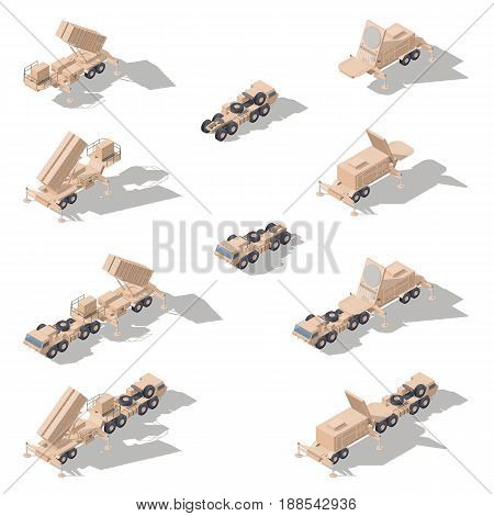 Air defense missile system isometric icon set vector graphic illustration
