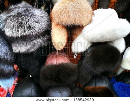 The Fur Hat At Izmailovsky Market In Moscow, Russia