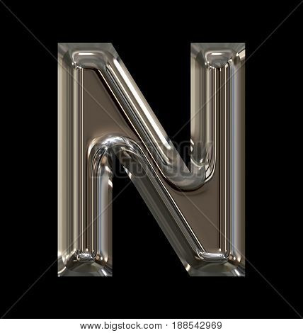 Letter N Rounded Shiny Silver Isolated On Black
