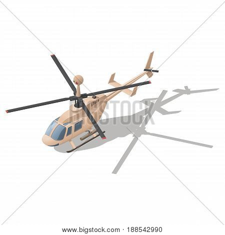 Fire support or reconnaissance helicopter isometric icon vector graphic illustration