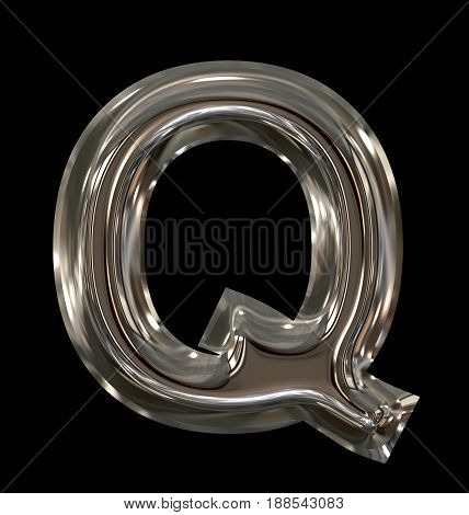 Letter Q Rounded Shiny Silver Isolated On Black