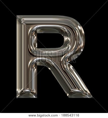 Letter R Rounded Shiny Silver Isolated On Black