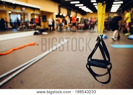 fitness straps of athletes in the gym. concept of stretching and maintaining health.high contrast and monochrome color tone.