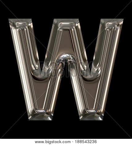 Letter W Rounded Shiny Silver Isolated On Black