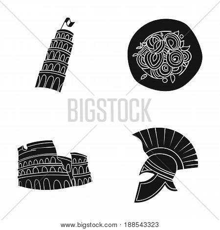 Pisa tower, pasta, coliseum, Legionnaire helmet.Italy country set collection icons in black style vector symbol stock illustration .