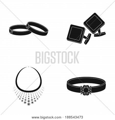 Wedding rings, cuff links, diamond necklace, women's ring with a stone. Jewelery and accessories set collection icons in black style vector symbol stock illustration .
