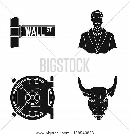 Wall Street, a businessman, a bank vault, a gold charging bull. Money and finance set collection icons in black style vector symbol stock illustration .