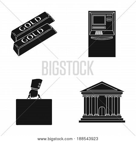 Gold bars, ATM, bank building, a case with money. Money and finance set collection icons in black style vector symbol stock illustration .