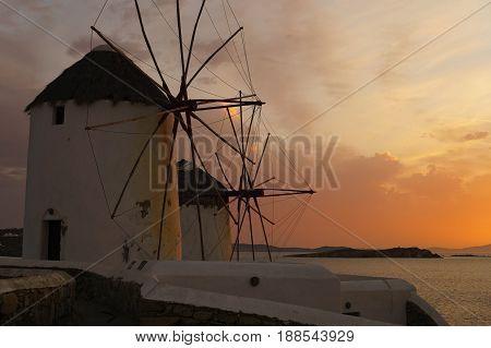 Greece Mykonos Sunset at Windmills. Mykonos Island Greece Cyclades