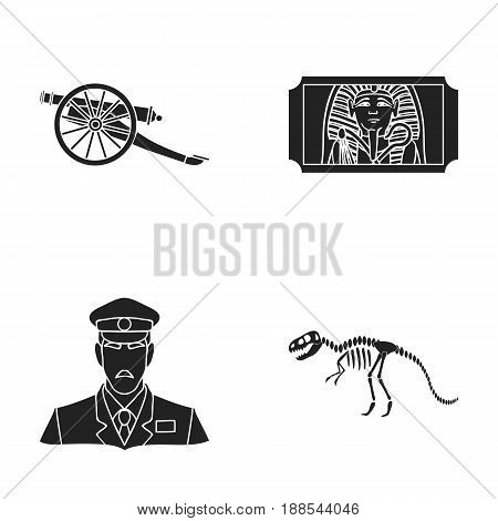 Gun on wheels, dinosaur skeleton, security guard in uniform, admission ticket. Museum set collection icons in black style vector symbol stock illustration .