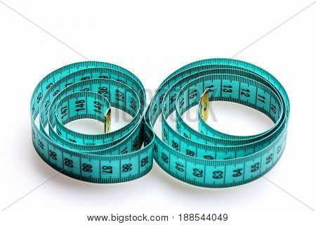 Circles Made Of Cyan Measuring Tape, Isolated On White Background