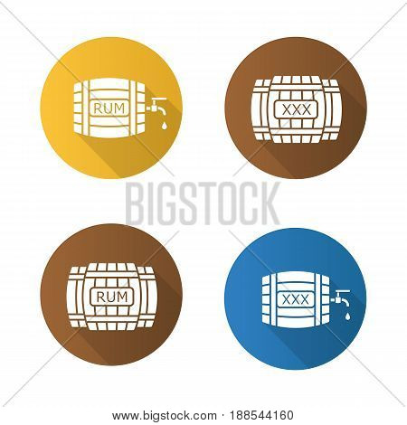 Alcohol wooden barrels flat design long shadow icons set. Rum or whiskey wooden barrels with tap, drop and xxx sign. Vector silhouette symbols