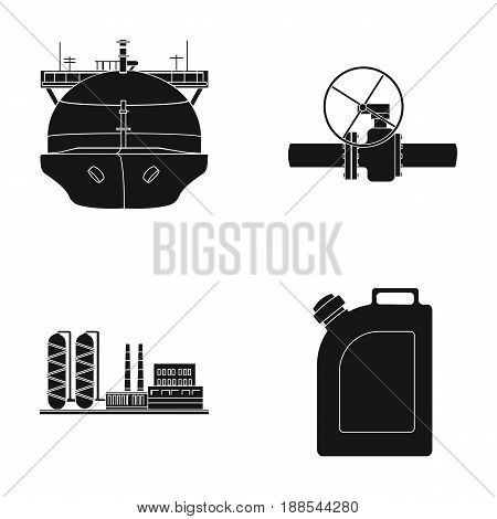 Tanker, pipe stop, oil refinery, canister with gasoline. Oil industry set collection icons in black style vector symbol stock illustration .