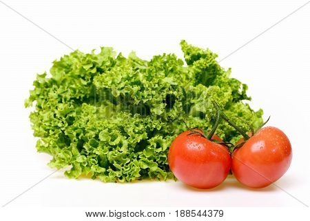Nutrition Healthy Concept, Leafy Vegetables Or Lettuce Leaf With Tomatoes