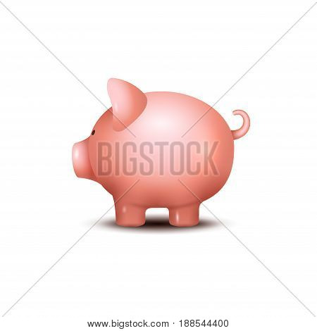 Pig money box. Piggy money save bank icon. Pig toy for coins saving box concept. Wealth deposit.