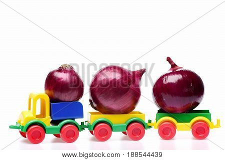 Delivery Of Fresh Harvest: Big And Small Onions On Train
