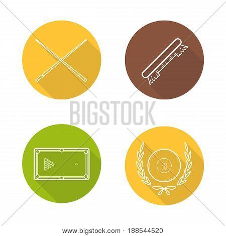 Billiard equipment flat linear long shadow icons set. Billiard brush, table with balls rack, crossed cues and eight ball in laurel wreath. Vector line illustration