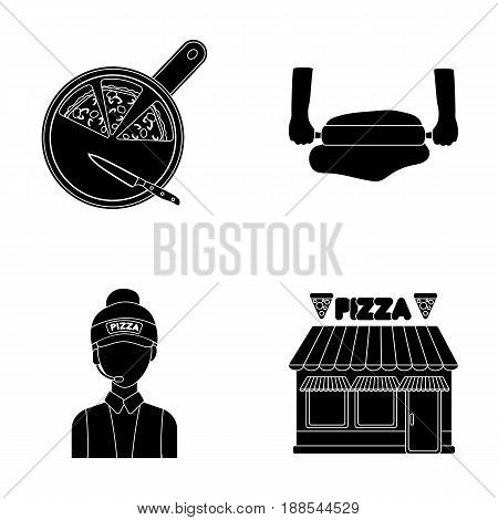 Pizza on a cutting board, a seller, a pizzeria, a rolling test. Pizza and pizzeria set collection icons in black style vector symbol stock illustration .
