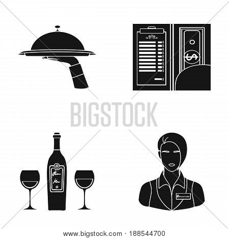 A tray with a cloth, check and cash, a bottle of wine and glasses, a waitress with a badge. Restaurant set collection icons in black style vector symbol stock illustration .
