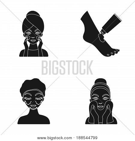 Face care, plastic surgery, face wiping, moisturizing the feet. Skin Care set collection icons in black style vector symbol stock illustration .