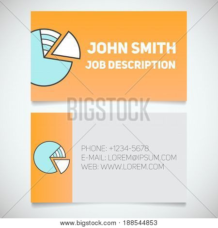 Business card print template with diagram logo. Stockbroker. Economist. Stationery design concept. Vector illustration