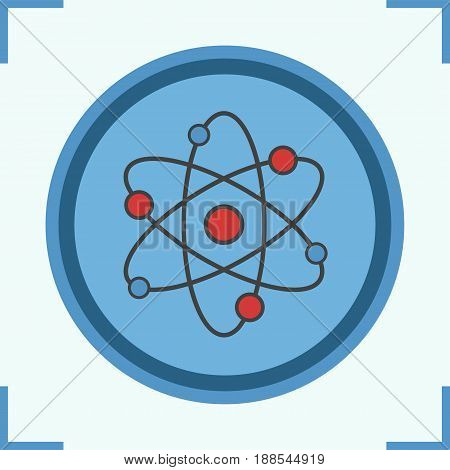 Atom color icon. Atomic structure. Physics sign. Isolated vector illustration