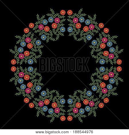 Colorful embroidery stitches imitation frame with folk flower with green leaf. Floral wreath on black background. Embroidery illustration.