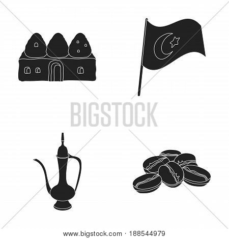 House hive, national flag, coffee pot copper, grains coffee.Turkey set collection icons in black style vector symbol stock illustration .