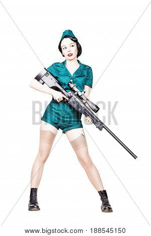 Portrait of Beautiful Brunette with black hair. Pin up Female Dressed in military clothing Uniform and Garrison cap with sniper rifle. Army Pin-up Girl Concept