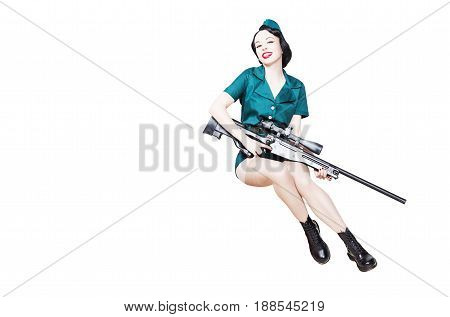 Portrait of Beautiful Brunette with black hair. Pin up Female Dressed in military clothing Uniform and Garrison cap with sniper rifle. Army Pin-up Girl Concept, lot of copyspace