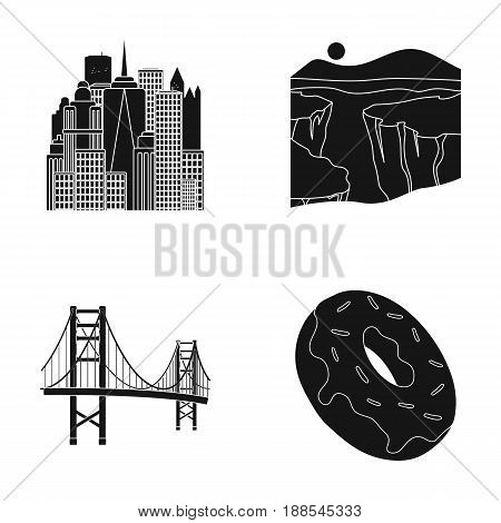A megacity, a grand canyon, a golden gate bridge, donut with chocolate. The US country set collection icons in black style vector symbol stock illustration .