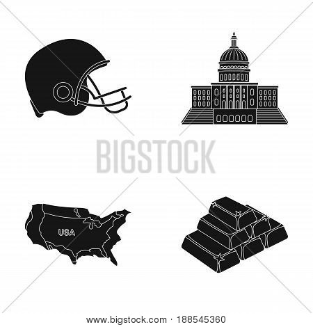 Football player's helmet, capitol, territory map, gold and foreign exchange. USA country set collection icons in black style vector symbol stock illustration .
