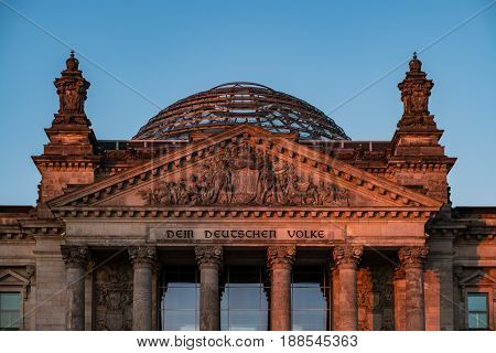 Berlin Germany - may 27 2017: The Reichstag building seat of the German Parliament (Deutscher Bundestag) at night in Berlin Germany.