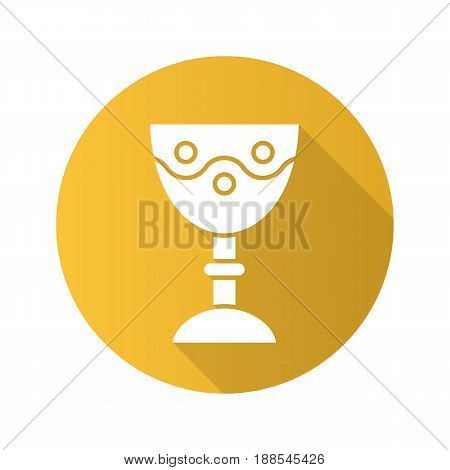 Church goblet flat design long shadow icon. Chalice. Holy water bowl. Vector silhouette symbol