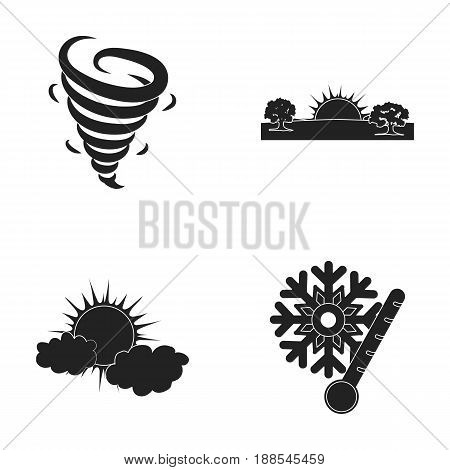 Tornado, sunrise, cloudiness, snow and frost. The weather set collection icons in black style vector symbol stock illustration .