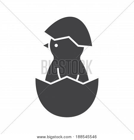 Newborn chicken glyph icon. Silhouette symbol. Nestling in egg shell. Negative space. Vector isolated illustration