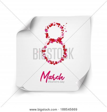 8 march holiday card design on paper curled corners. Rose petals vector international greetings or congratulations. 8 march - woman day illustration.